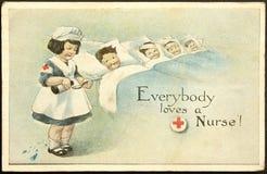 Postal pintada vendimia Imágenes de archivo libres de regalías