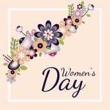 Postal plana del vector con las flores 8 de marzo día de las mujeres s ilustración del vector