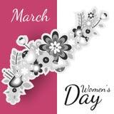 Postal plana del vector con las flores 8 de marzo día de las mujeres s stock de ilustración