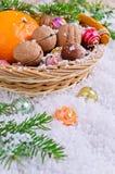 Postal por el Año Nuevo y la Navidad Foto de archivo libre de regalías