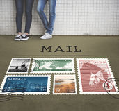 Postal Postage Mail Package Stamp Concept.  Stock Photos