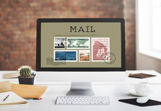 Postal Postage Mail Package Stamp Concept.  Royalty Free Stock Images