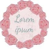 Postal redonda del vintage con las rosas rosadas Imagen de archivo libre de regalías