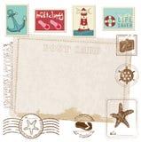 Postal retra de la invitación con los sellos del MAR Fotografía de archivo