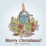 Postal retra drenada mano adornada de la Navidad Fotos de archivo libres de regalías