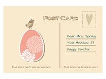 Postal retra linda de pascua con el pájaro y el huevo floral, stock de ilustración