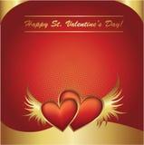 Postal roja y de oro del día de tarjeta del día de San Valentín de los corazones Imágenes de archivo libres de regalías