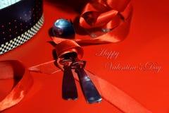 Postal romántica para el día del ` s de la tarjeta del día de San Valentín Fotos de archivo libres de regalías