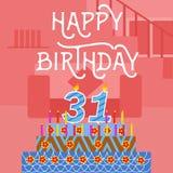 Postal rosada vieja de la torta del th del feliz cumpleaños 31 - letras de la mano - caligrafía hecha a mano Foto de archivo