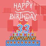 Postal rosada vieja de la torta del th del feliz cumpleaños 33 - letras de la mano - caligrafía hecha a mano Fotografía de archivo