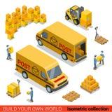 Postal service delivery van package vector isometric flat 3d. Flat 3d isometric postal service warehouse staff delivery van loading concept. Men loader forklift Stock Images