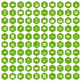 100 postal service icons hexagon green. 100 postal service icons set in green hexagon isolated vector illustration royalty free illustration