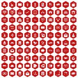 100 postal service icons hexagon red. 100 postal service icons set in red hexagon isolated vector illustration Stock Image