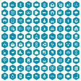 100 postal service icons sapphirine violet. 100 postal service icons set in sapphirine hexagon isolated vector illustration Stock Photos