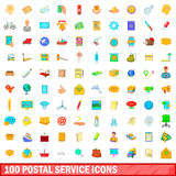 100 postal service icons set, cartoon style Royalty Free Stock Photos
