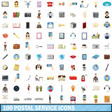 100 postal service icons set, cartoon style. 100 postal service icons set in cartoon style for any design vector illustration Stock Image