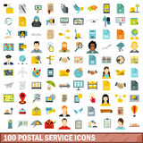 100 postal service icons set, flat style. 100 postal service icons set in flat style for any design vector illustration Royalty Free Stock Photography
