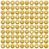 100 postal service icons set gold. 100 postal service icons set in gold circle isolated on white vector illustration Stock Photos