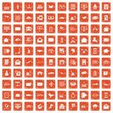 100 postal service icons set grunge orange. 100 postal service icons set in grunge style orange color isolated on white background vector illustration vector illustration