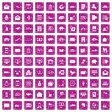 100 postal service icons set grunge pink. 100 postal service icons set in grunge style pink color isolated on white background vector illustration vector illustration