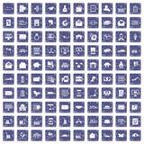 100 postal service icons set grunge sapphire. 100 postal service icons set in grunge style sapphire color isolated on white background vector illustration vector illustration