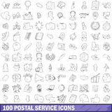 100 postal service icons set, outline style Royalty Free Stock Photos