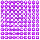 100 postal service icons set purple. 100 postal service icons set in purple circle isolated on white vector illustration royalty free illustration