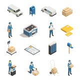 Postal Service Isometric Icons Set. Postal mail shipping service isometric icons set with post office parcels mailman and postoffice box isolated vector Stock Photo