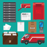 Postal service. Set of postal service. Achieved flat. It contains items associated with postal services premise email mailboxes, scanner, car dostaki. Green Royalty Free Stock Photos