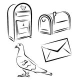 Postal service simbols. Vector illustration of postal service items including post box, mail box, dove  and letter Stock Images