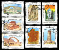 Postal stamp AFGHANISTAN. AFGHANISTAN - CIRCA 1985: Postal stamp showing Tomb of Mirwais, Minaret of Ghazni, Mosque no Gumbad, Statue in Bamyan, Citadel Bost Stock Photos