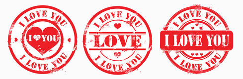 Postal stamp i love you. Vector Stock Images
