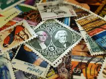 Postal stamps. Several used postal stamps collection stock image