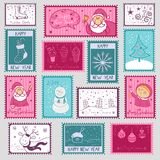 Postal stamps with Christmas illustration Royalty Free Stock Photos