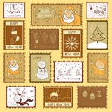 Postal stamps with Christmas illustration Stock Photography