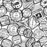 Postal stamps pattern Stock Photography