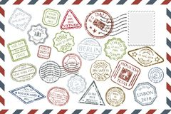 Postal Stamps set on envelope. Composition with collection of colorful grungy stamps with text and postmarks on rectangular postal envelope. Postal Stamps set in Stock Photo