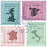 Postal stamps 2. Set of postal stamps with grunge effect Royalty Free Stock Image