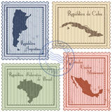 Postal stamps. Set of grunge postal stamps of Latin America countries Stock Photography