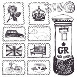 Postal stamps set. Hand drawing sketch Royalty Free Stock Photo