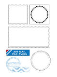 Postal stamps template vector. Blank postal stamps template with post mark and air mail sticker royalty free illustration