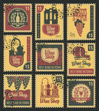 Postal stamps on theme of wine Stock Photography