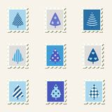 Postal stamps trees set. Stock Image
