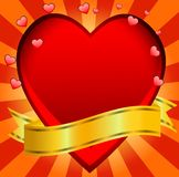 Postal to the day of saint Valentin with a red heart Royalty Free Stock Images