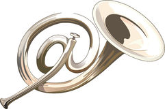 Postal trumpet. Like commercial At vector illustration