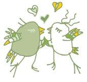 Postal verde del amor de la primavera con los pájaros Fotografía de archivo libre de regalías
