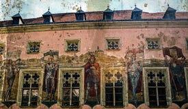 Postal vieja con el edificio histórico de ayuntamiento de Passau imagen de archivo libre de regalías