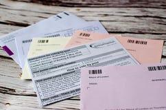 Postal voting London UK. Voting elections postal poll card London UK ballot papers Royalty Free Stock Photo