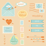 Postal wedding set vector elements vector Stock Images