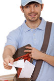 Postal worker with letters. Happy postal worker with letters on white background Stock Photo